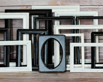 Rustic Frame Set, Rustic Gallery Set, Black and White, Wedding Decor, Wood Gallery Wall, Living Room Decor, Home Wall Decorating, Frame Set