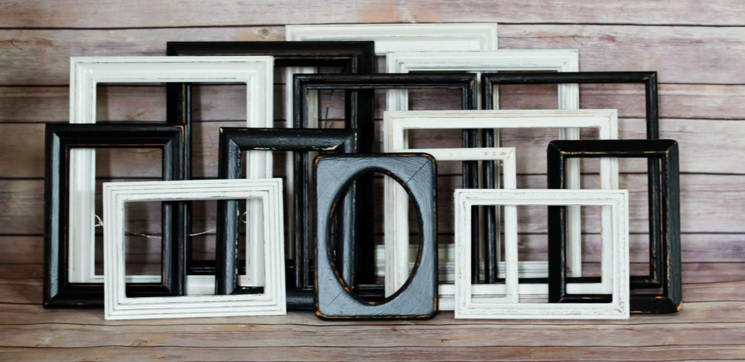 Gallery Wall Frame Set rustic frame set, rustic gallery set, black and white, wedding