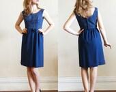 Brigitte Dress * 1960s blue lurex and crepe cocktail dress * Size 0-2
