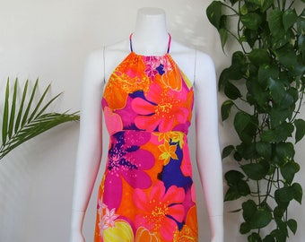 1960's Floral Backless High Neck Halter Mini Dress Hawaiian Psychedelic Festival Mod
