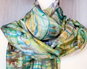 Hand-painted silk scarf teal