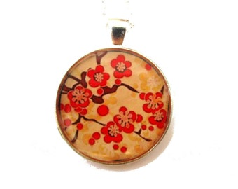 CHERRY BLOSSOM NECKLACE - Sakura Necklace - Sakura jewelry - Flower Necklace - Floral Necklace - Red Flowers - Picture Necklace - Japan