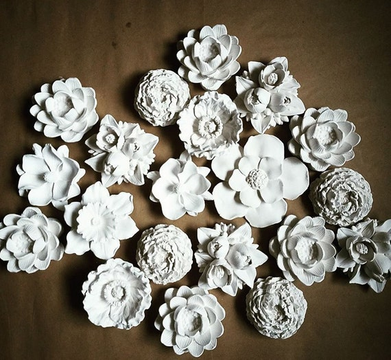 Wall flower sculptures, Spring flower sculpture collection, set of wall hanging flowers, modern flower cluster