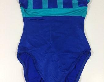 Stripes in the Sun Swim Suit - Vintage Swim Suit - Vintage Bathing Suit - Small Medium - Blue Swim Suit - Vintage Beach - Strapless Swim