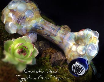 "Grateful Dead ""Egyptian Gold"" Shimmering Glass Spoon; Functional Glass Art; Heady Glass; Jerry Garcia; Grateful Glass; Deadhead Glass Art"