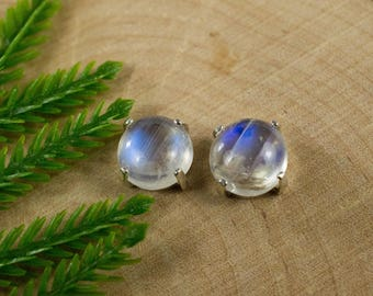 Rainbow Moonstone Earrings in Sterling Silver or Gold