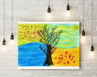 4 seasons tree etsy. Black Bedroom Furniture Sets. Home Design Ideas