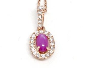 14k Rose Gold Star Ruby Necklace Pink