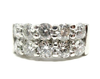 Platinum 2.36ctw Diamond Ring with two rows of round brilliant diamonds
