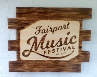 Fairport Music Festival Rustic Wood Sign