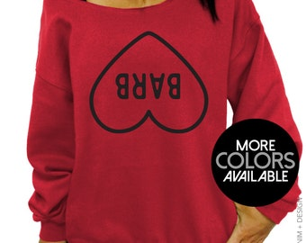 The Upside down - Barb Heart - Slouchy Sweatshirt - Oversized Off the Shoulder Sweater - More Colors Available