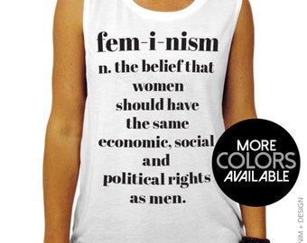 Feminism Definition - Muscle Tee Tank Top - Loose Fitted Muscle Shirt - Women's Work Out Muscle Tank - More Colors Available,gym tank