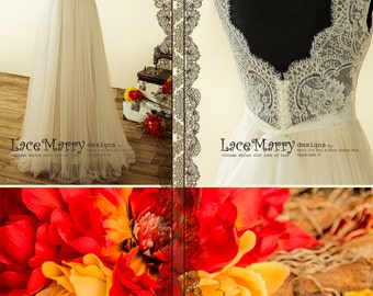 Romantic Boho Wedding Dress with Sheer French Lace Neckline | A Line Wedding Dress, Tulle Wedding Dress, Beach Wedding Dress, Wedding Dress