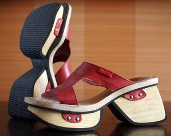 Designer RIZZO wooden platform sandals 90's Club Kid wood clogs chunky clunky platform shoes