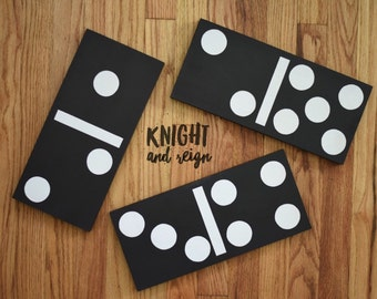 Wooden Dominoe Set 28 Pieces Customize Black and White