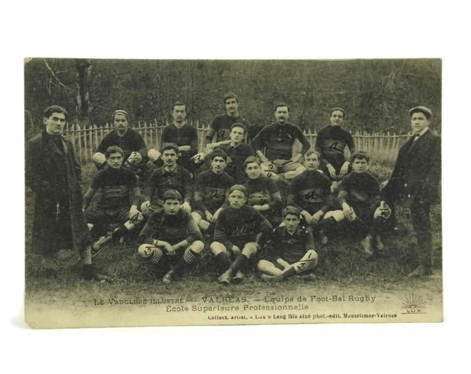 Antique Sports Team Postcard. French Rugby Men's Group Photo.
