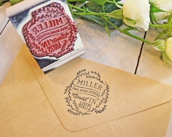 Rustic Floral Wreath Return Address Stamp - Custom Circular Rubber Stamp - Laurel Hand Drawn Stamp - Wedding Invitations Stamp