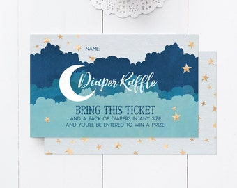 Diaper Raffle for Over the Moon Baby Boy Shower - Printable Baby Shower Insert - Instant Download
