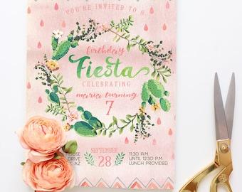 Desert Birthday Party Invitations - Fiesta Watercolor Cactus Party Invites - Cute Cacti Printable or Printed Invitations