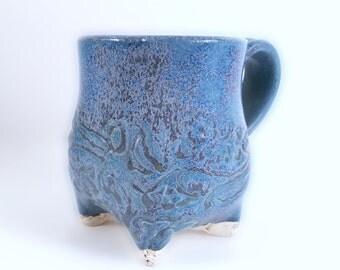 Hand Built Ceramic Mug - Blue 12 oz Mug -Handmade Coffee Mug - Large Coffee Mug