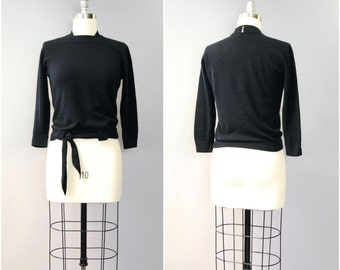 1950's black Dalton CASHMERE tie sweater • medium