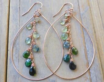 Multi Green Ombre Tourmaline Drops & 14k Rose Gold Filled Teardrop Earrings