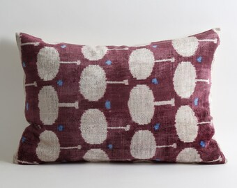 Velvet Ikat Pillow Cover - Purple Ikat Pillow Velvet Ikat Pillow Lumbar Pillow Cover Decorative Couch Purple Cream Pillow Handwoven Pillow