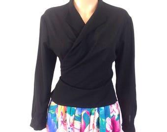 Yohji Yamamoto Thin Wool Crepe Wrap Blouse Sz. M