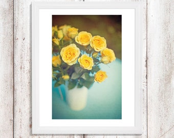 Floral Photography Yellow Roses Cottage Chic Style Home Decor Turquoise Prints Canvas 24x36 20x30 16x24