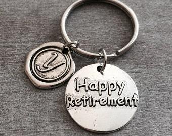 SILVER KEYRING, Bag Charm, Purse Charm, Retirement Gift, Happy Retirement, Retirement Keychain, Personalized Keychain, Wax seal initial