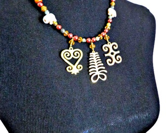 Adinkra Symbol Necklace, Charm Necklace Necklace, Sankofa, Aya, Dwennimmen Statement Necklace, African Jewelry, Boho Jewelry