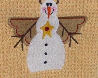 Snowman Angel  - Waffle Weave Microfiber Hand Towel - Butter