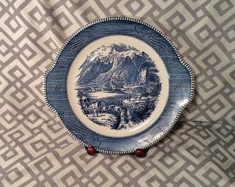 Vintage Currier and Ives Plate, Platter, Handled Cake Plate - The Rocky Mountains by Royal - Discontinued Blue & White Serving Set