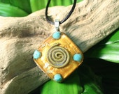 Turquoise Orgone Pendant - Spiral - Handmade Healing Jewelry - Spiritual Gift, Chi, Prana, Energy Balancing Orgonit Organite - Small