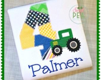 Personalized Tractor Birthday Shirt - Tractor Shirt - Kids Shirt - Farm Birthday Shirt - embroidered shirt - Boys birthday Shirt