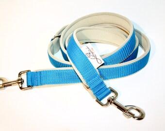 Dog leash neoprene padded 2m turquoise blue beige