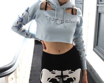 Blue Logo Hoodie Cut Out Flower Crop Top Punk Grunge Indie