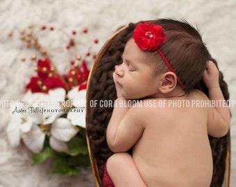 Chiffon Flower Headband, Red Headband, Red Flower, Red Flower Headband, Flower Headband, Chiffon Flower, Newborn Headband, Photography Prop