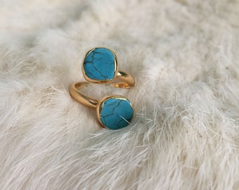 Turquoise Stone Ring Adjustable Gold plated turquoise ring turquoise cluster gemstone jewelry Adjustable ring jewelry turquoise boho gold