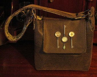 Steampunk Key Brown Faux Leather Hand Bag -- Keys to the Castle