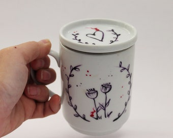 Illustrated French Tisaniere ( teapot) for original tea time handmade/handpainted on white porcelain