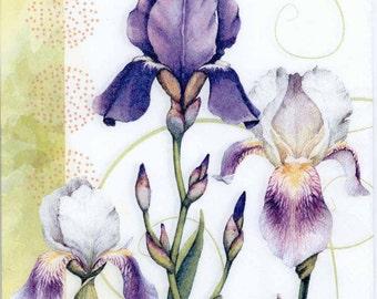 Decoupage Napkins   Purple Irises   Iris Napkins   Flower Napkins  Floral Napkins   Garden Napkins   Paper Napkins for Decoupage