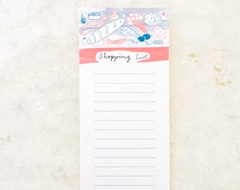 Shopping List Pad, Illustrated Notepad, To Do List Notepad, Grocery List, Paper Goods, Stationery, Notes, Writing Paper, Foodie Gifts