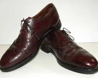 Vintage Wingtip Shoes / Gunboats / BURGUNDY Leather Brogues / Oxford Dress shoe / Bostonian Made USA men's 9.5 DB