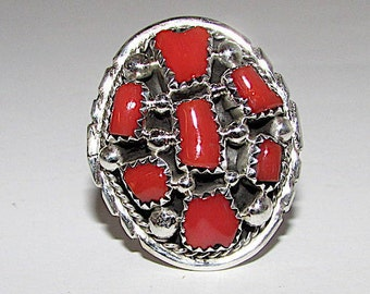 Vintage Old Pawn Native American Navajo Sterling Silver Mediterranean Coral Cluster Statement  Ring Size 9