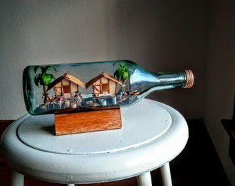 filipino village diorama in a bottle folk art  huts miniatures tropical  philippines family pacific culture  handmade vintage bamboo decor
