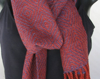 Handwoven scarf in merino wool and silk