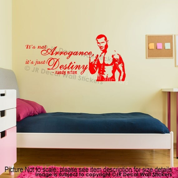 randy orton wall sticker wwe champion wrestling quotes wall decal gym sports art boys room decor - Wrestling Bedroom Decor