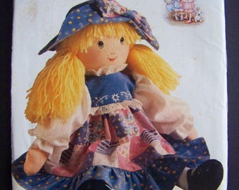 Uncut 1990 Holly Hobbie  Doll Pattern with Doll Clothes Pattern with Transfer