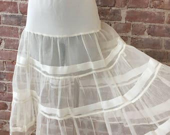 Sheer White Petticoat - 1950s Romantic Crinoline - Wedding Petticoat - Lolita - Rockabilly - Pinup - Burning Man